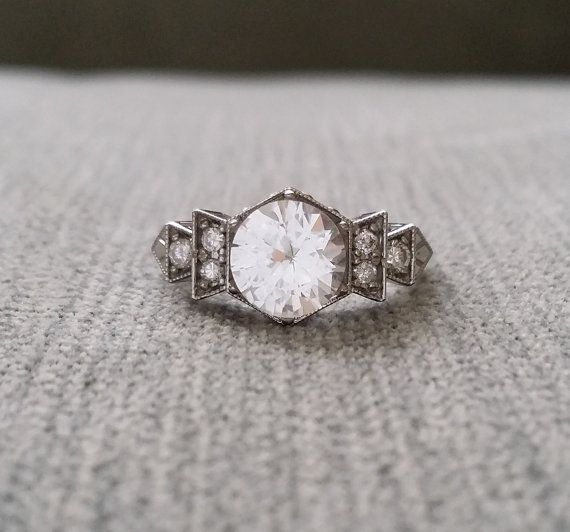 """Antique Diamond White Sapphire Engagement Ring White Gold 1920s Grey Black Gemstone Rustic Bohemian PenelliBelle Exclusive """"The Florence"""""""