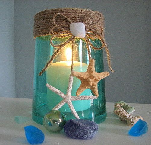 Shell Vase or Candle Hurricane for Beach Decor - Nautical Vase w Starfish in Green, 6in. $20.00, via Etsy.
