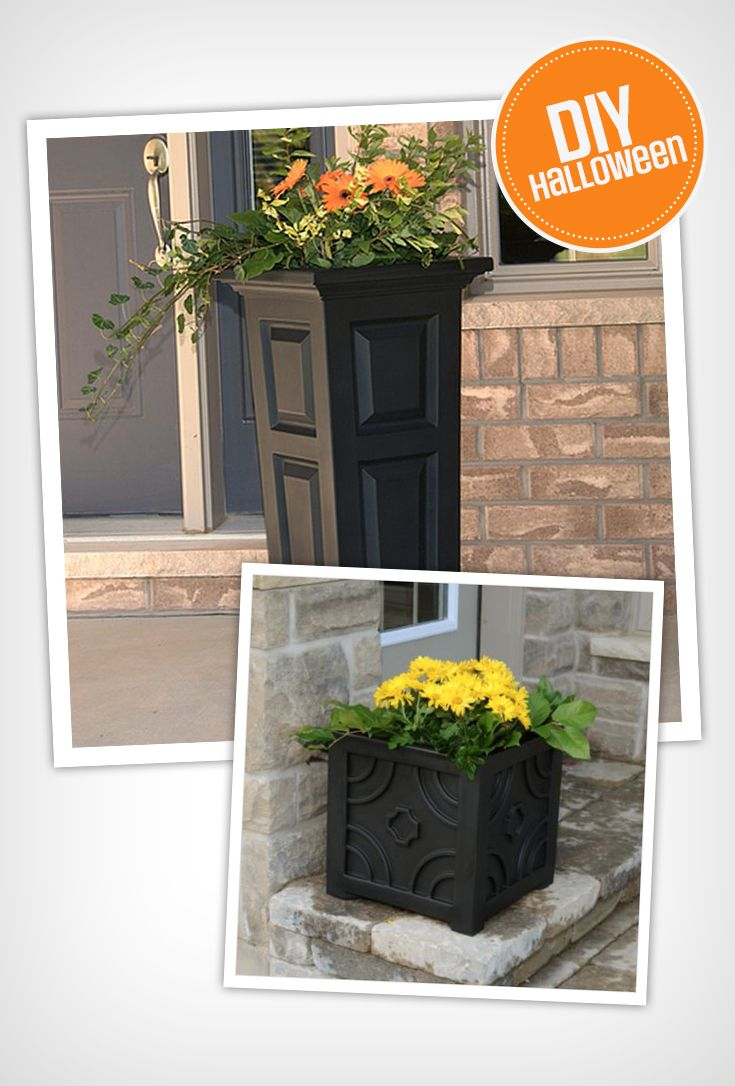 These patio planters are great pedestals for your pumpkins and other fall decorations on Halloween!