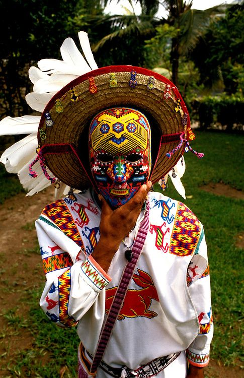 alxbngala: Mexico: Puerto Vallarta. Man with Huichol mask, Lee Foster www.fostertravel.com,