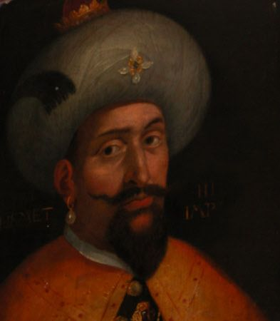 Sultan Mehmed III (1566-1603) Son of Murad III and Safiye Sultan. Husband to Handan Sultan, Halime Sultan and 3 others. Protrait after Cristofano Dell' Altissimo, 17th century