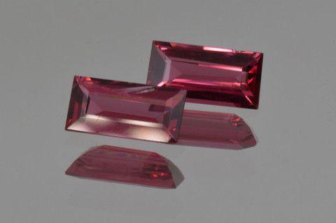 Rich Burmese Red Spinel. Hard to Find Pair, Baguette Cut, 1.75 ct. pai - MdMaya Gems