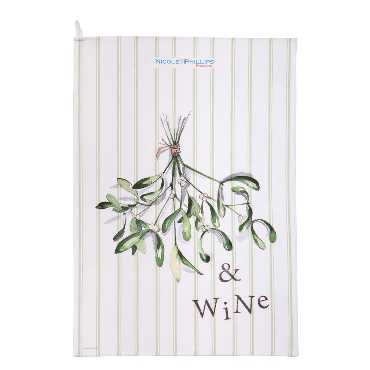 Nicole Phillips England artisan Mistletoe and Wine Christmas Tea Towel. Nicole Phillips designs and makes beautiful fine textile ranges that add accents of creativity and colour for your home and kitchen. Designed and made in England to the highest print and quality standards. http://www.nicolephillips.com/collections/tea-towels/products/mistletoe-and-wine-tea-towel #christmas