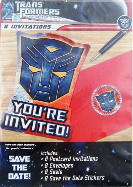 Transformers Party Invites Invitations With Stickers