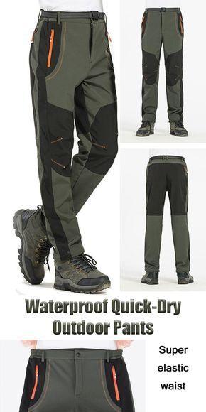df48bc7450df Mens Outdoor Sport Pants Elastic Waist Soft Shell Warm Fleece Lining ...