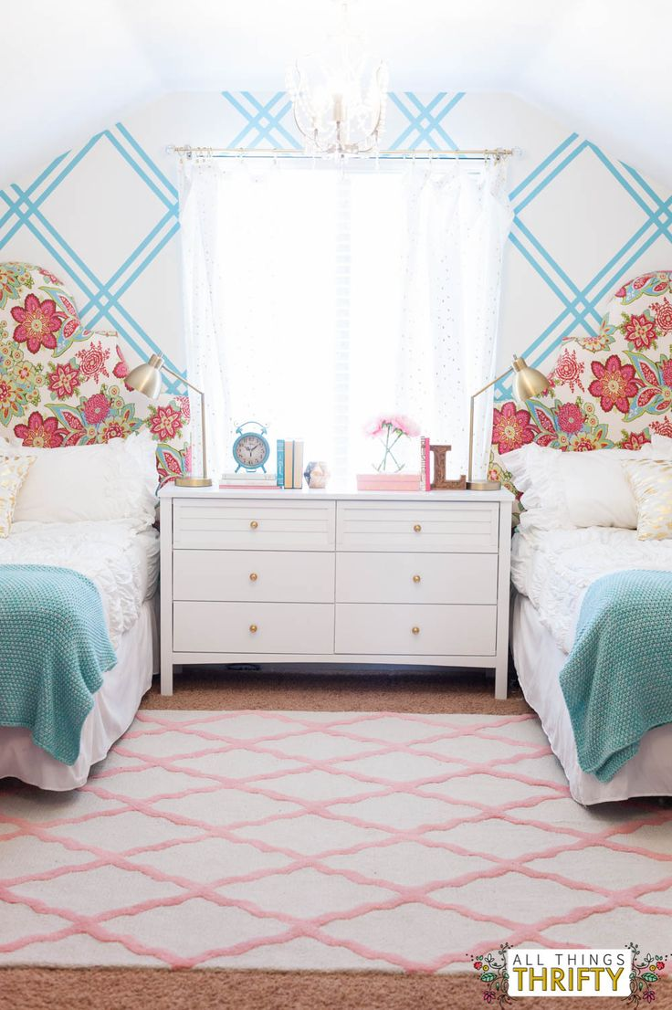 Girls Tween Room Ideas Gold, Turquoise and Pink