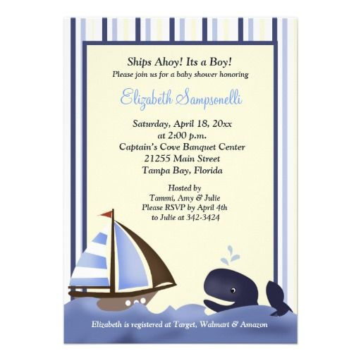 Ahoy Mate Blue Whale Baby Shower 5x7 Personalized Invitation