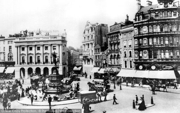 London, Piccadilly Circus c.1893. This famous junction was once known as Regent Circus and developed out of Nash's elegant modelling of Regent Street. George IV likened Piccadilly Circus to an illusion of preventing 'the sensation of crossing Piccadilly being perceived'. In 1886 many of its buildings were demolished and the open space considerably enlarged. #London #HistoricLondon