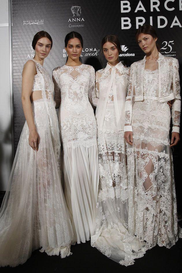 Amazing lace! Yolan Cris wedding dress collection Barcelona Bridal Week 2015 See more: http://bridalmusings.com/2015/05/backstage-barcelona-bridal-week-2015/