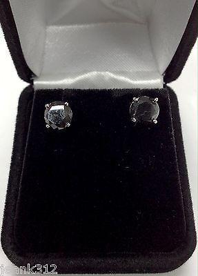 Women's 14K White Gold 2.70 Carat Black Diamonds Ladies 4 Prongs Stud Earrings