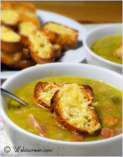 Award Winning Split Pea Soup with Gouda Crostini