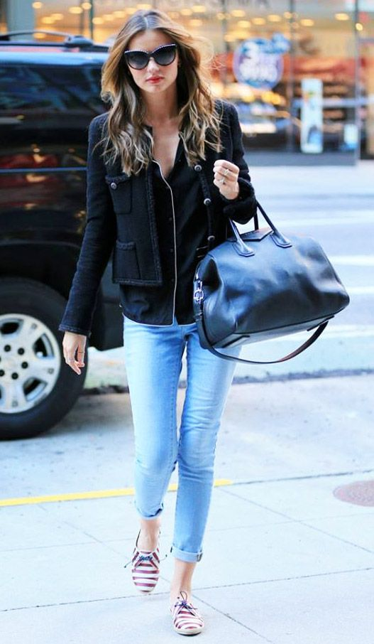 Cat eyeglasses black top & cropped jacket & blue jeans pants Miranda Kerr street style #fashion