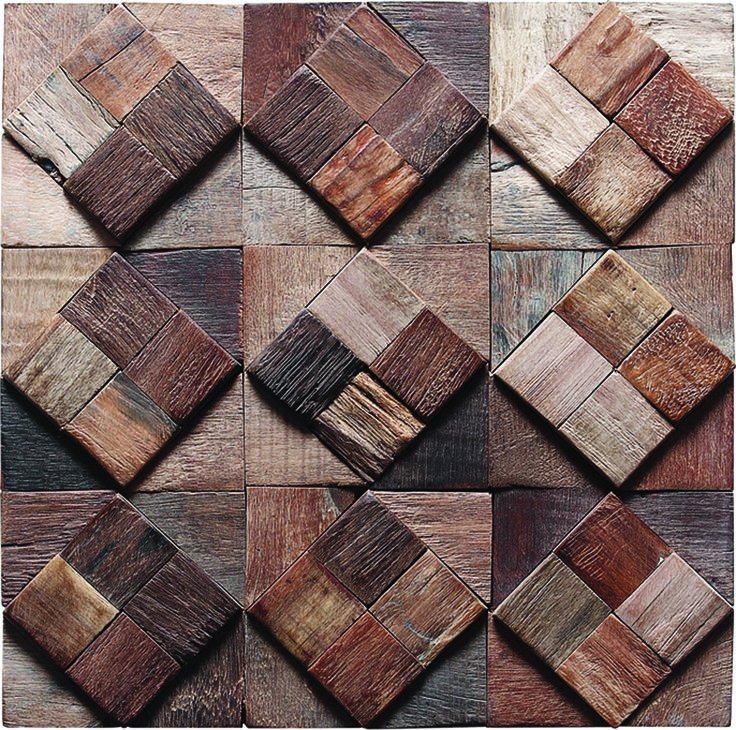 TST Wooden Squared Midcentury Mosaic tiles Wall Panel Deco Contemporary Craftsman