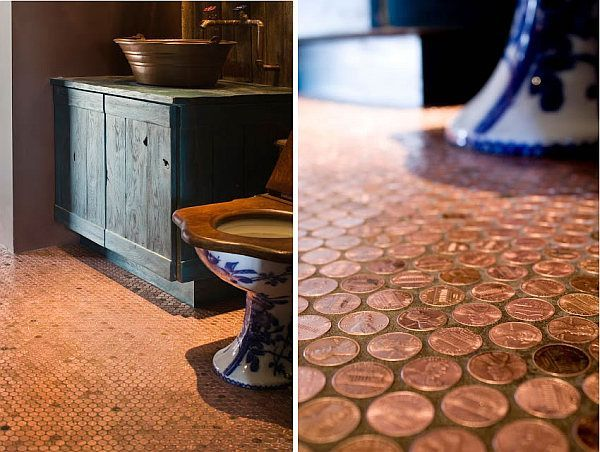 may i say a copper penny floor mosaic eheheh ;) -- How To Make Copper Penny Flooring In 9 Easy Steps --