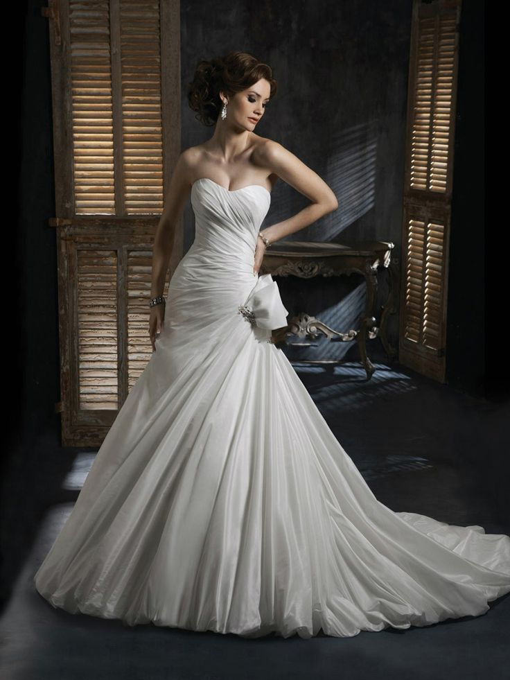 Шикарный белый Русалка атласная куртка без бретелек Милая свадебное платье без рукавов  Пункт ID: WG3816