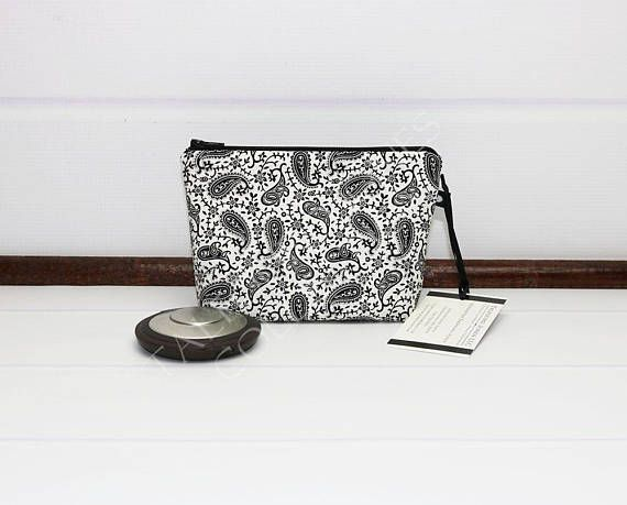 Mini Cosmetic Pouch  Paisley Makeup Bag  Black Makeup Pouch