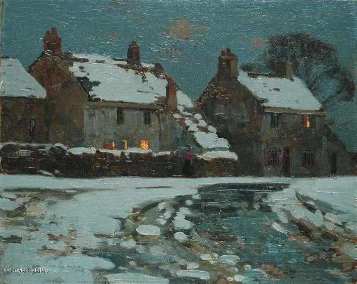 ۩۩ Painting the Town ۩۩ city, town, village & house art - Stanley Royle   April Snow, 1922