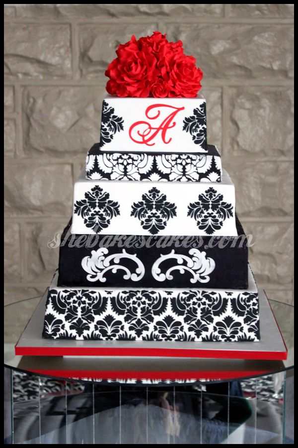 "1 of 3 - My favorite out of the three for wedding cake! I sent the lady 3 different cake pictures so we could pick and choose! What yall think :) would be an ""H"" of course! :)"