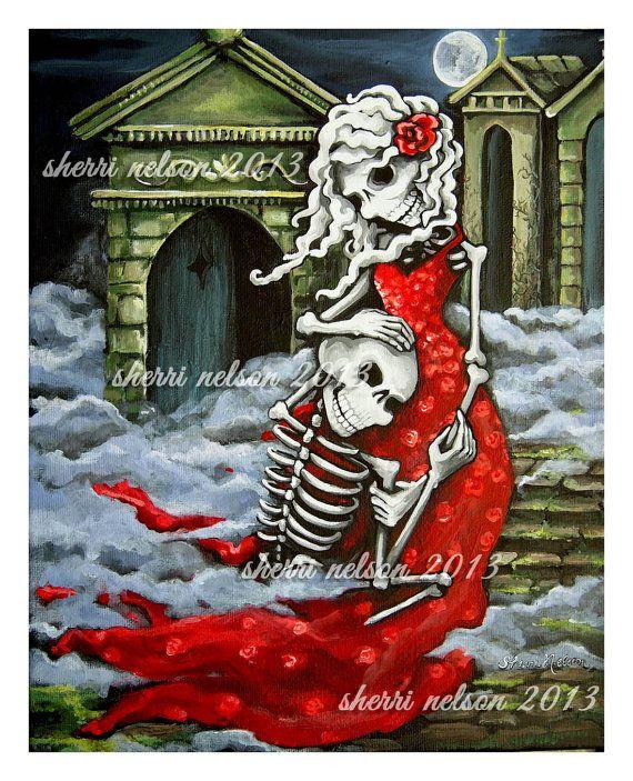 Romantic Gothic Art Print. Skeleton Couple. Gothic by BonesNelson