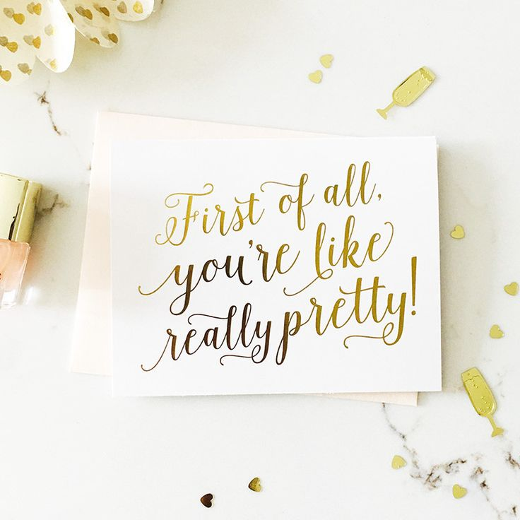 This sweet, fun card is ideal for asking 'Will you be my bridesmaid?' or 'Will you be my maid of honour?' Handcrafted in gold foil. Delivery across Australia.