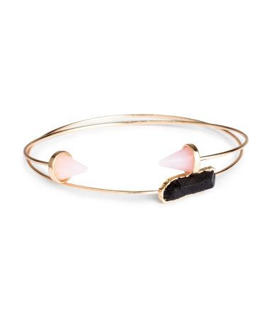 Gold-tone bangle bracelets with modern, stone-like accents. | H&M Gifts
