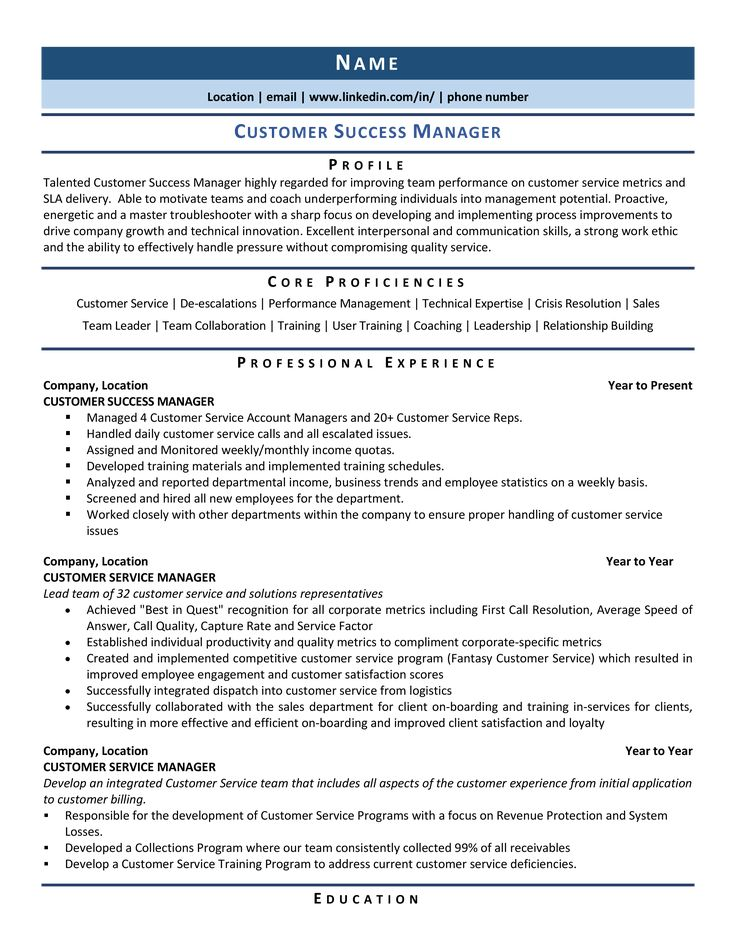 Customer Success Manager Resume Samples & Template for