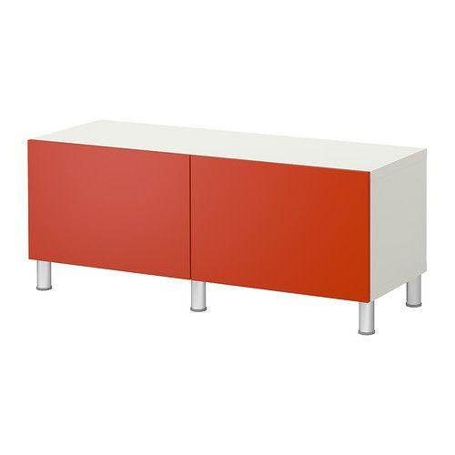 BESTÅ Storage combination with doors - white/orange  - IKEA