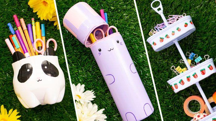 Haz Organizadores de escritorio con materiales reciclables, son fáciles de hacer. Preschool Crafts, Diy Crafts, Paper Folding Crafts, Kawaii Crafts, Barbie, Things To Do When Bored, School Supplies, Scrapbook, Activities