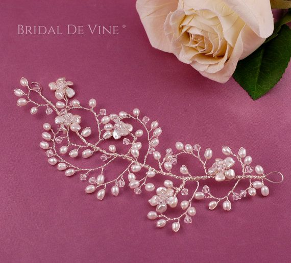 Delicate Bridal Hair Vine   Boho with by BridalDeVine on Etsy