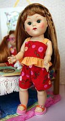 """PuFF BuTToN DoLLy CLuB!..for Vogue's 7.5"""" Ginny A sweet 2 pc. ruffle top and shorts set for vintage or reproduction Ginny dolls. Click the pix to see where to purchase this cute outfit instantly."""
