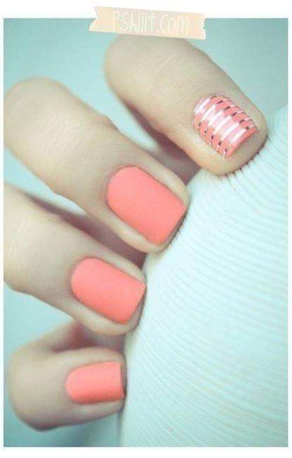 nails nails nails nails: Matte Nails, Nails Art, Accent Nails, Color, Pink Nails, Nailsart, Pastel Nails, Gold Stripes, Coral Nails