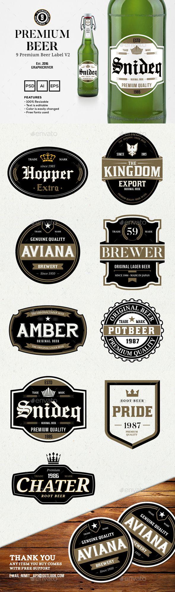9 Premium Beer Labels V2 — Photoshop PSD #logo #sign • Available here → https://graphicriver.net/item/9-premium-beer-labels-v2/15020080?ref=pxcr