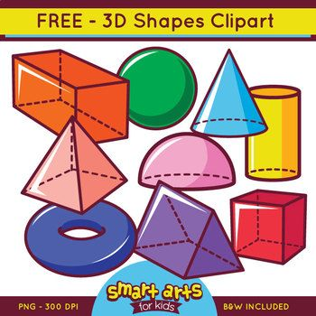 FREE 3D Shapes ClipartsCheck out the BUDGET BUNDLE of this 3D Shapes 3D Bundle LinkCheck out the BUDGET BUNDLE of this 2D Shapes 2D Bundle LinkColorful Rectangular Prism shapes things: - cone- cube- cylinder- hemisphere- pyramid- sphere- rectangular prism- torus- triangular prismIncluded in this Product: FREE 3D Clipart 9 Full Colored items 9 Black and white items 18 pieces clip art in total Each clipart saved separately in 10x10 300 dpi PNG files, transparent background*Colors might be…