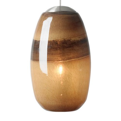 Emi Bronze One-Light Mini Pendant with Light Chocolate/Brown Glass - (In Bronze)