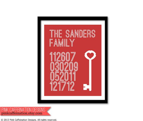 11x14 Custom Family Dates Key to My Heart Wall by PinkCaffeination, $30.00
