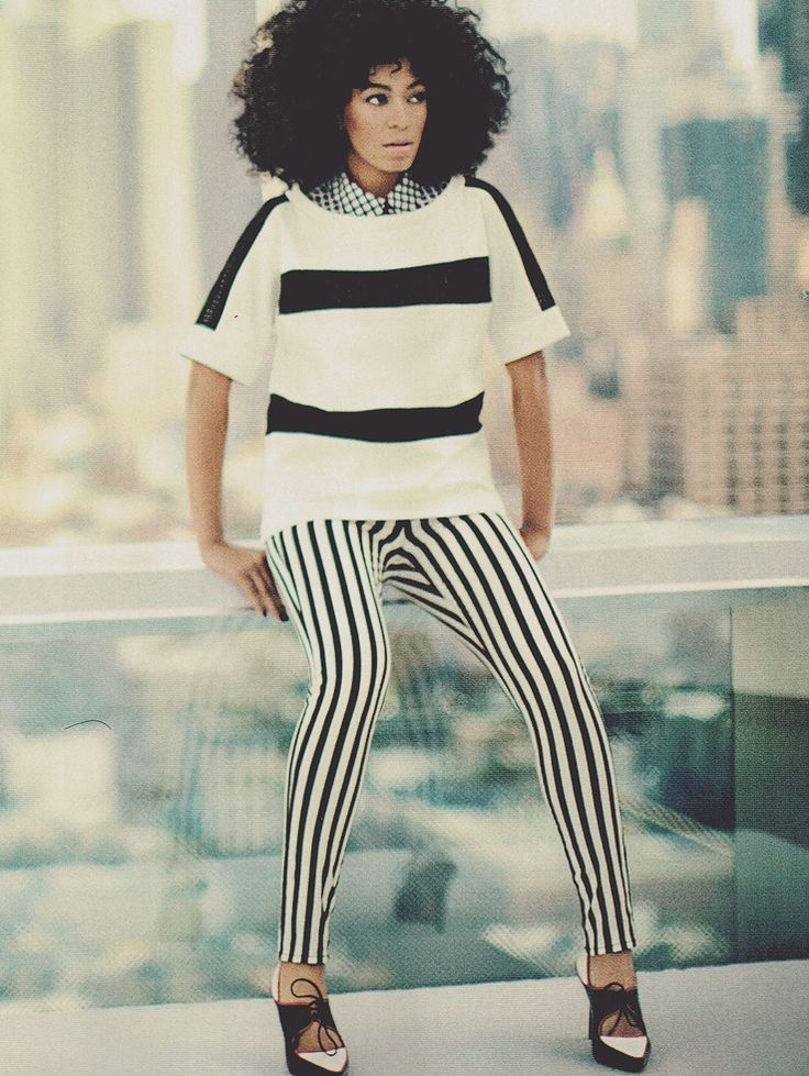 stripes + stripes. Also, I want her pants. & shoes.