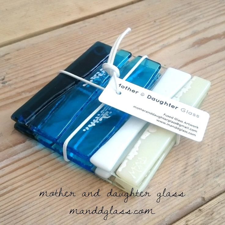 M&D Glass fused glass Watergate Bay coasters