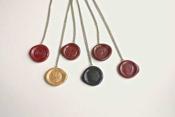 GoT Wax Seal Necklace Game of Thrones Jewellery House Stark Sigil Targaryen Nightswatch Tyrell Lannister Baratheon Sigil Stamp