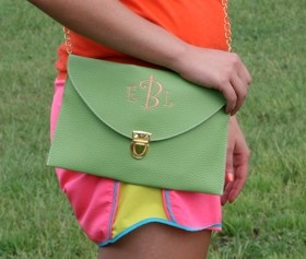 Perfect for Gameday Monogrammed Solid Color Clutch/Crossbody Bag