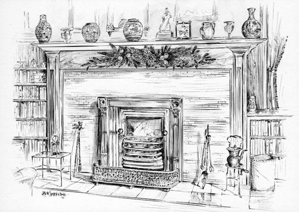 Victorian Christmas Fireplace Drawing Google Search