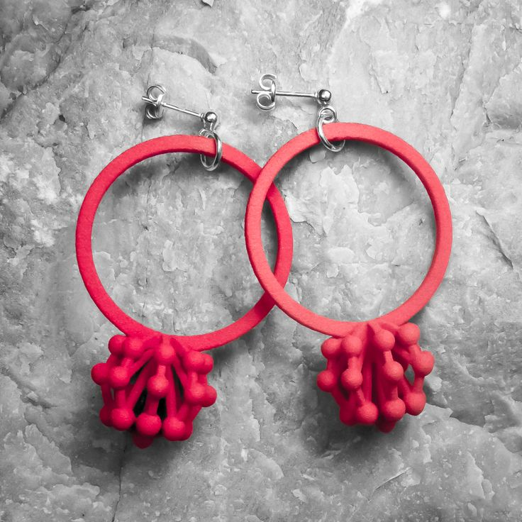 Show & Tell Earrings ••• 3D Printed Jewellery Inspired by Science ••• Cherry Red Nylon