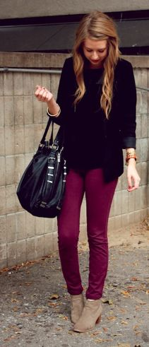 Burgundy pants, slouchy black sweater (LEATHER ACCENTS)!