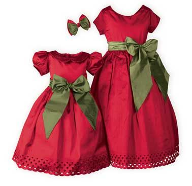 Perfect for either set!  Elegant holiday sister dresses in crimson and olive green pure dupioni silk. Fully lined. Wide iridescent green sash can be worn in front or back for