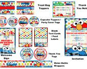 Sesame Street Party Package - Elmo Cookie Monster Big Bird Oscar the Grouch Grover Bert Ernie Abby Cadabby Zoe - Polka Dot Party Printable. $35.00, via Etsy.