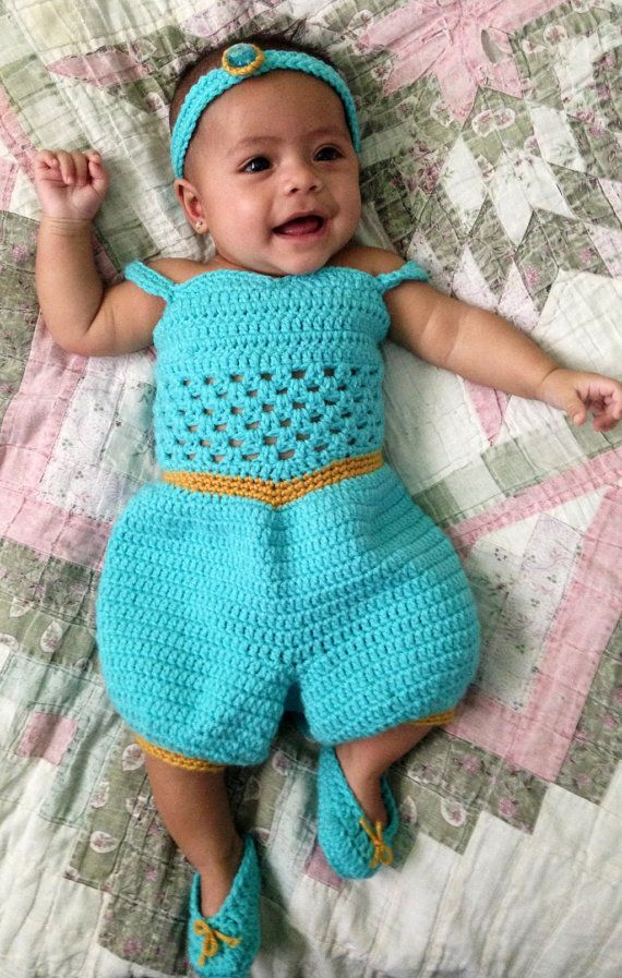 crochet photo prop Disney's 'Jasmine' inspired princess dress/jumper and headband- size newborn or 0-3months on Etsy, $35.00