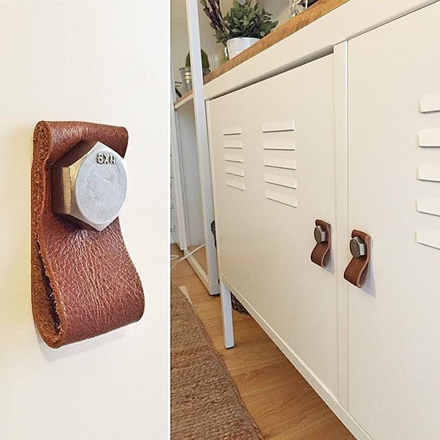 @grizzpiece added handles for the #IKEA PS cabinet using leather and a bolt. Giving it a nice warm touch. : @grizzpiece