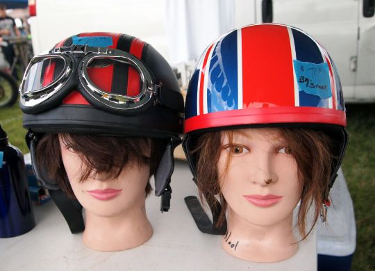 Motorcycle swap meet helmets. I always enjoy the seller's creativity to attract traffic to their goods. A collection from AMA Vintage Days at Mid-Ohio. July 2016 #motorcycles#helmets#vintage#ama#swap meet#ama vintage days#mid-ohio#cafe racer#cafe