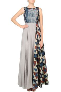 ANUSHREE Grey And Blue Shaded Triangular Blocks Printed Maxi Dress