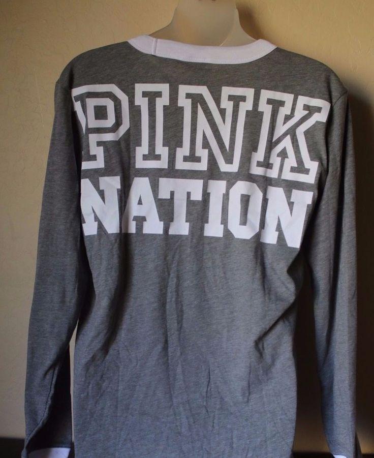 Victoria's Secret PINK NATION Long Sleeve Ringer Tee Shirt Size Medium Gray Blue #VictoriasSecret #GraphicTee