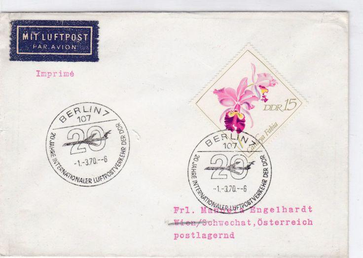 DDR 1422 LUFTPOST ORCHIDEE ORCHID BLUME FLOWER WIEN AUSTRIA BRIEF AIRMAIL COVER